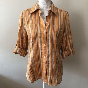 Ellen Tracy Vintage Striped Button Down Top Orange